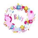 Round, circle frame with kids toys. Handprints, baby pacifier and text baby Stock Image