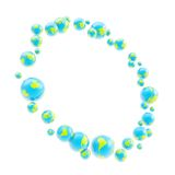 Round circle frame made of earth spheres. Round abstract circle frame made of earth textured glossy blue and green spheres on white stock illustration