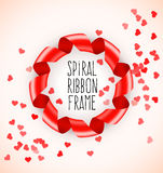 Round circle symbol frame of red spiral ribbon with hearts confetti Royalty Free Stock Photography