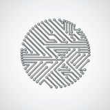 Round circuit board with electronic components of technology dev Royalty Free Stock Images