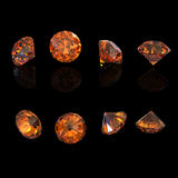 Round citrine isolated. Gemstone Royalty Free Stock Photos