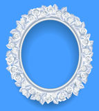 Round classic frame with white roses wreath on blue Stock Photo