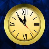 Round clock on a bright abstract background Royalty Free Stock Images