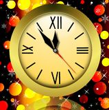 Round clock on a bright abstract background. Illustration Stock Images