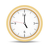 Round clock with brown frame and numbers Royalty Free Stock Photography