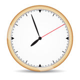 Round clock with brown frame and red second hand Stock Images