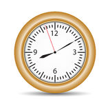 Round clock with brown frame on white Stock Photo