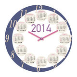 2014 round clock calendar. A round clock shaped calendar for 2014. Sundays first, moon phases included Stock Photo