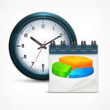 Round clock with chart Royalty Free Stock Images