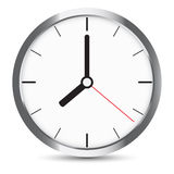 Round clock with gray frame on white Stock Photography