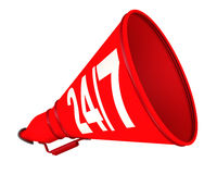 Round the clock informational support. The concept. Red megaphone with inscription 24/7 lies on a white surface. The concept of provide round the clock Stock Image