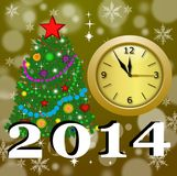 Round clock with a new-year tree. Illustration Stock Image