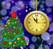 Round clock with a new-year tree. Illustration Royalty Free Stock Photo