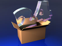 Round the clock opened box. 24 hours opened box three dimensional model Royalty Free Stock Images