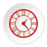 Round clock with roman numerals icon, flat style. Round clock with roman numerals icon. Flat illustration of round clock with roman numerals vector icon for web Royalty Free Stock Photos