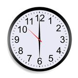Round clock. Face showing six o`clock isolated on white background. Vector illustration Stock Image