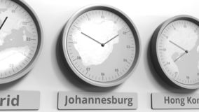 Round clock showing Johannesburg, South Africa time within world time zones. Conceptual 3D rendering. Different time zones clocks, 3D royalty free illustration