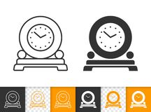 Round Clock On Stand simple black line vector icon royalty free illustration