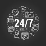 Round The Clock Support on black. Vector round concept of round the clock support or technical support. Numbers 24 and 7 with many different business icons Royalty Free Stock Photos