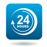 Round clock support icon, flat style Royalty Free Stock Photos