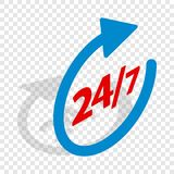 Round clock support isometric icon. 3d on a transparent background vector illustration Stock Photo