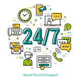 Round The Clock Support - round concept. Vector round concept of round the clock support or technical support. Numbers 24 and 7 with many different business Royalty Free Stock Image