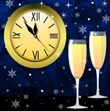 Round clock and two glasses with champagne Stock Images