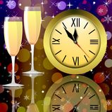 Round clock and two glasses with champagne Stock Image