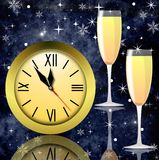 Round clock and two glasses with champagne Royalty Free Stock Image