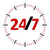 Round-the-clock service icon  2. Round-the-clock on white background represents 24/7 service, three-dimensional rendering, 3D illustration Royalty Free Stock Photo
