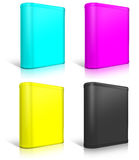 Round cmyk box. Software box Royalty Free Stock Images