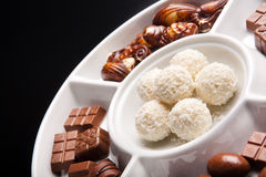 Round, coconut chocolate sweats Royalty Free Stock Photo