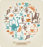 Round coffee pattern with flat elements stock illustration