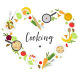 A round collage in the form of a heart with products and appliances for cooking vector illustration