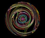 Round. Color abstraction in a circle on a black background Stock Images