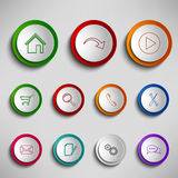Round color buttons icons design template Royalty Free Stock Photo