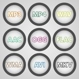 Round color icons for audio and video formats. Vector Icons stock illustration