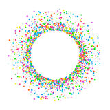 Round colored confetti. Round colored frame or border of random scatter of a splash of colored circles of confetti Design element for a festive banner, birthday Royalty Free Stock Image