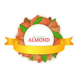 Round colored frame composed of almond nut and gold ribbon. Vector card illustration Stock Images