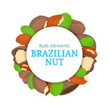 Round colored frame composed of brazil nut.   Royalty Free Stock Photography