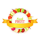 Round colored frame composed of delicious apple pear fruit and gold ribbon. Vector card illustration. Circle apples pears frame. Ripe fresh fruits for Royalty Free Stock Photography
