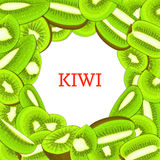 Round colored frame composed of delicious kiwi fruit. Vector card illustration. Circle kiwifruit . Ripe fresh kiwis. Round colored frame composed of delicious Stock Images