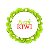 Round colored frame composed of delicious kiwi fruit. Vector card illustration. Royalty Free Stock Photos