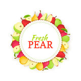 Round colored frame composed of different pear fruit. Vector card illustration. Stock Photo
