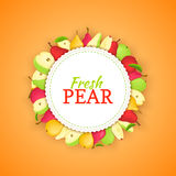 Round colored frame composed of different pear fruit. Vector card illustration. Royalty Free Stock Photo