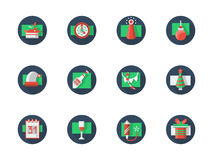 Round colored icon for New Year party. Decoration, drinks and accessories for New Year and Xmas party. Winter celebrations. Happy New Year 2016. Set of flat blue royalty free illustration