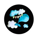 Round colored icons whale stock illustration