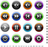 Round colored media buttons Royalty Free Stock Photos