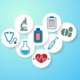 Light blue medical background, round medical badges vector illustration