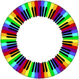 Round colored piano keyboard frame. Round piano keyboard frame in rainbow colors Stock Photo